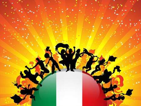 Italy Sport Fan Crowd with Flag Vector