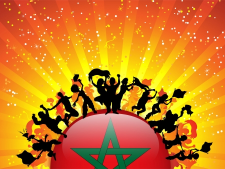 Morocco Sport Fan Crowd with Flag Vector