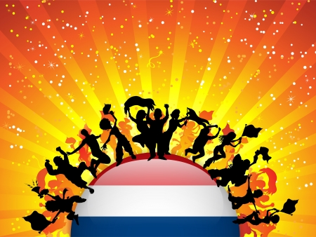 Netherlands Sport Fan Crowd with Flag Stock Vector - 14648008