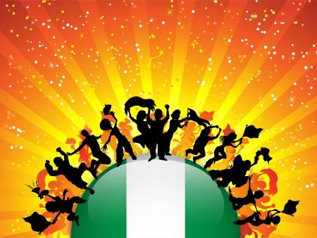 Nigeria Sport Fan Crowd with Flag Vector