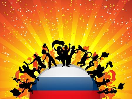 soccer fan: Russia Sport Fan Crowd with Flag
