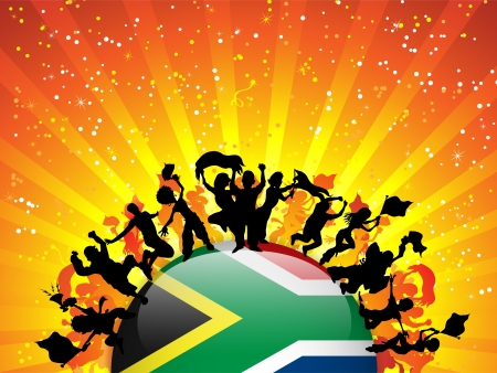 south african flag: South Africa Sport Fan Crowd with Flag Illustration