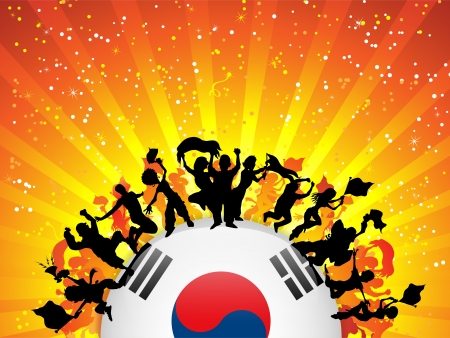 South Korea Sport Fan Crowd with Flag Vector