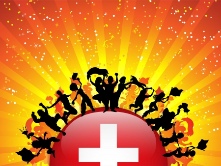 switzerland flag: Switzerland Sport Fan Crowd with Flag Illustration