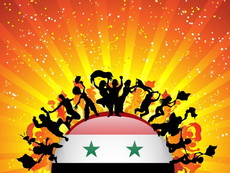 Syria Sport Fan Crowd with Flag Vector