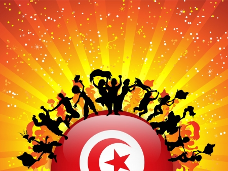Turkey Sport Fan Crowd with Flag Vector
