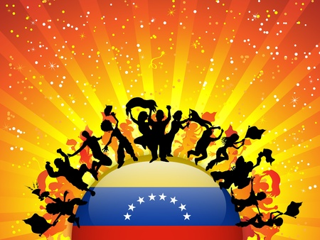Vector - Venezuela Sport Fan Crowd with Flag Stock Vector - 14647999
