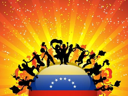 venezuelan: Vector - Venezuela Sport Fan Crowd with Flag