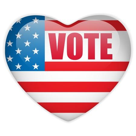 suffrage: United States Election Vote Heart Button. Illustration