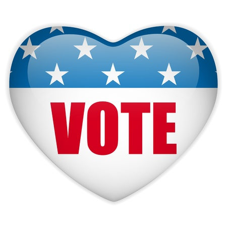 United States Election Vote Heart Button. Stock Vector - 14647988