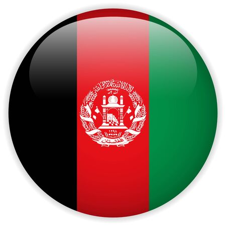 afghanistan flag: Vector - Afghanistan Flag Glossy Button Illustration