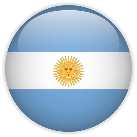 bandera argentina: Vector - Botón de bandera de la Argentina Glossy
