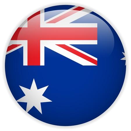 australia day: Vector - Australia Flag Glossy Button Illustration