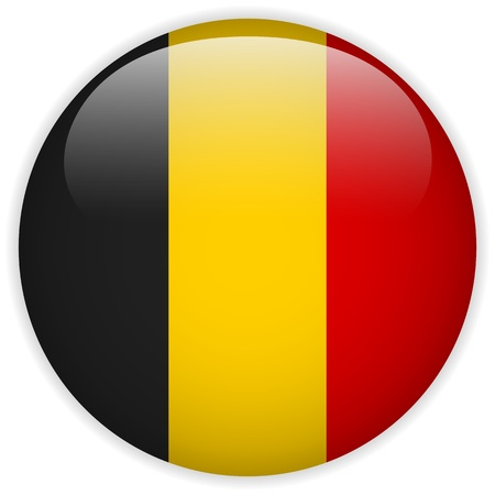 belgium flag: Vector - Belgium Flag Glossy Button Illustration