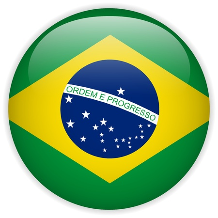 brazil symbol: Vector - Brazil Flag Glossy Button Illustration