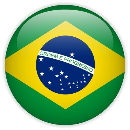 Vector - Brazil Flag Glossy Button