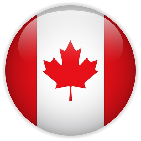 canadian state flag: Vector - Canada Flag Glossy Button