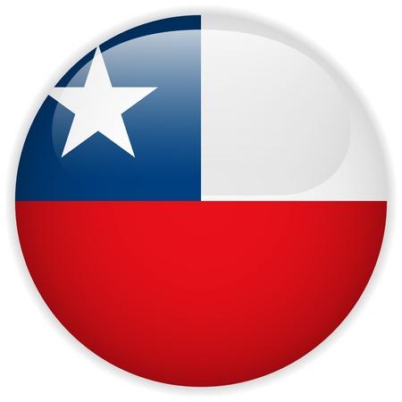 bandera de chile: Vector - Botón de la bandera de Chile Glossy