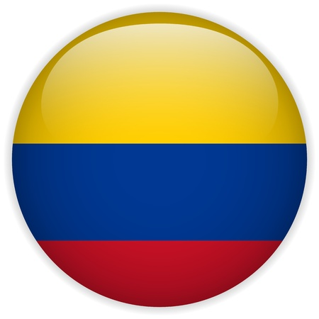 colombian: Vector - Colombia Flag Glossy Button Illustration