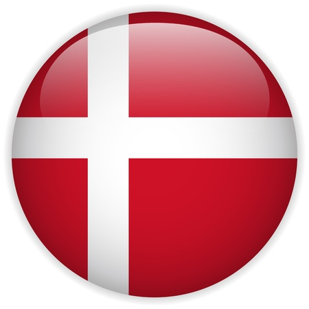 Vector - Denmark Flag Glossy Button Vector