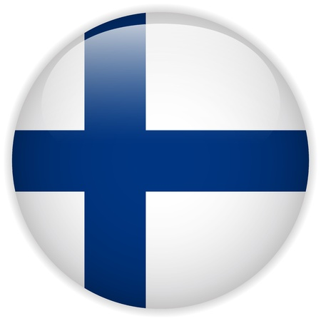 finnish: Vector - Finland Flag Glossy Button