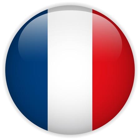 bandera francia: Vector - Bot�n de la bandera de Francia Glossy
