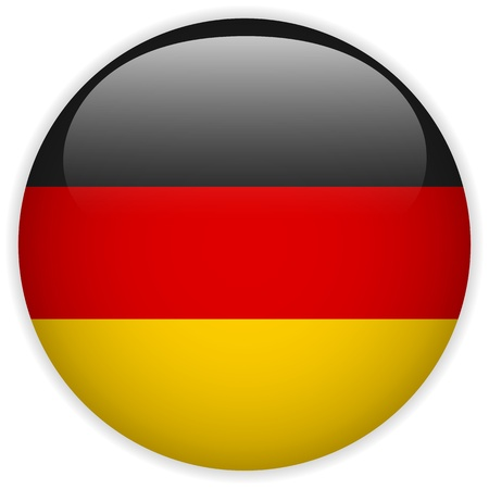 germany flag: Vettore - Flag Button Germania Glossy