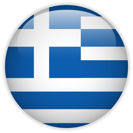 greek flag: Vector - Greece Flag Glossy Button