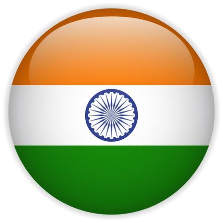 bandera de LA INDIA: Vector - Botón de bandera de la India Glossy