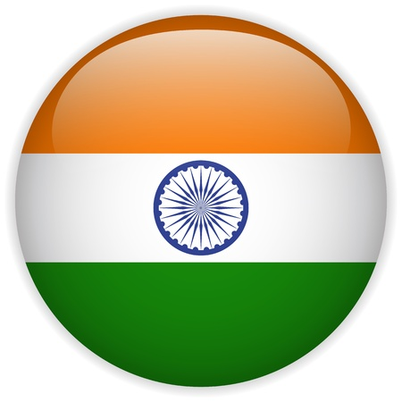 Vector - India Flag Glossy Button Illustration