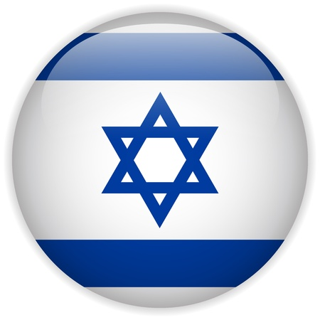 israel jerusalem: Vector - Israel Flag Glossy Button