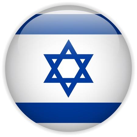 Vector - Israel Flag Glossy Button Vektoros illusztráció