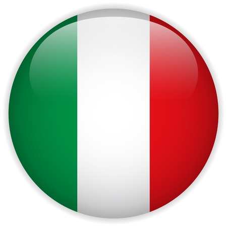 the italian flag: Vector - bandera de Italia Glossy Button