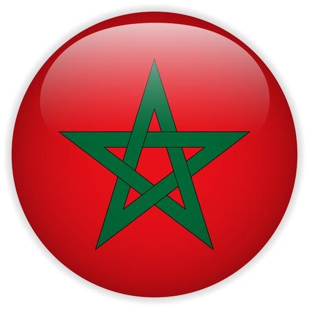 flag button: Vector - Morocco Flag Glossy Button Illustration