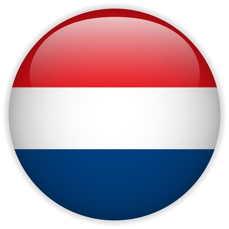 the netherlands: Vector - Vlag van Nederland Glossy Button Stock Illustratie