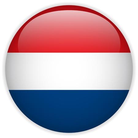 Vector - Botón de Países Bajos Bandera Brillante Ilustración de vector