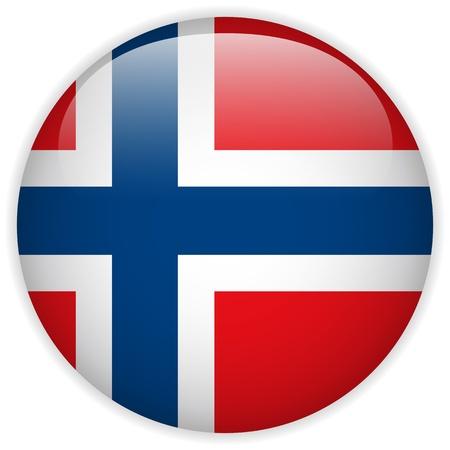 Vector - Botón de la bandera de Noruega Glossy