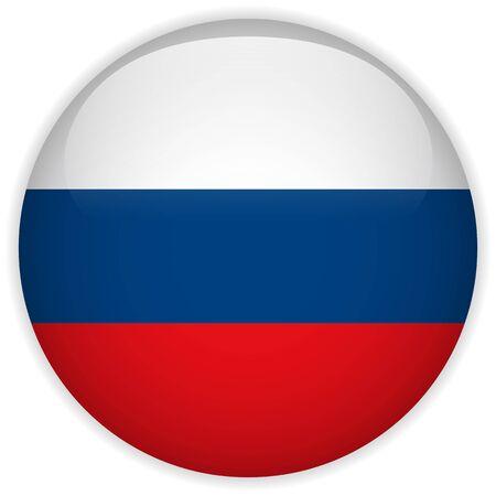 bandera rusia: Vector - Botón de la bandera de Rusia Glossy