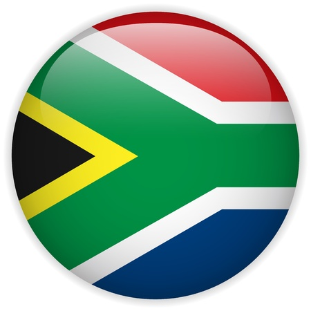 south african flag: Vector - South Africa Flag Glossy Button Illustration
