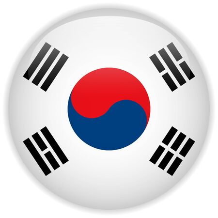 Vector - South Korea Flag Glossy Button Stock Vector - 15064576