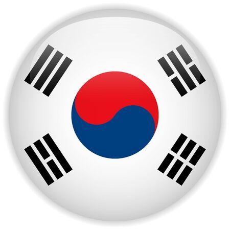 Vector - South Korea Flag Glossy Button Stock Vector - 15064576