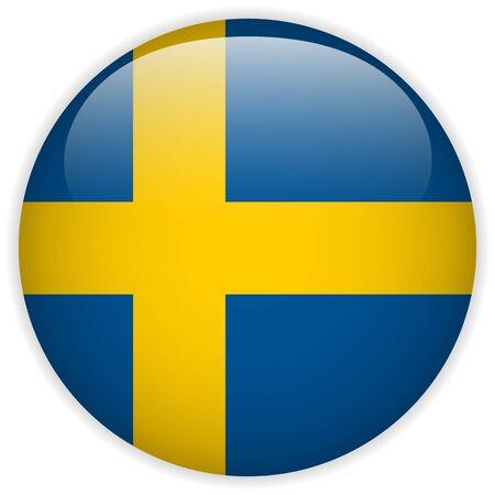 sweden flag: Vector - Sweden Flag Glossy Button Illustration