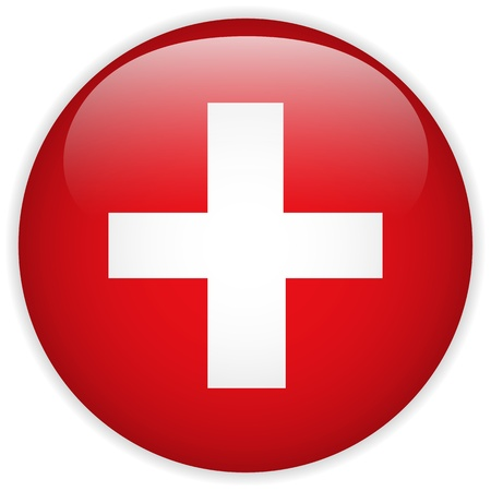 swiss: Vector - Switzerland Flag Glossy Button