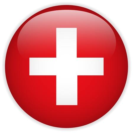 Vector - Vlag Zwitserland glanzende knop Vector Illustratie
