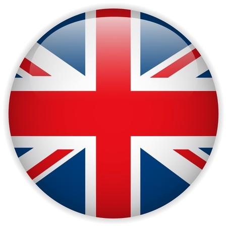flagge: Vector - Gro�britannien Flagge Glossy Button Illustration
