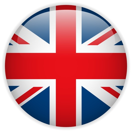 Vector - United Kingdom Flag Glossy Button Ilustrace