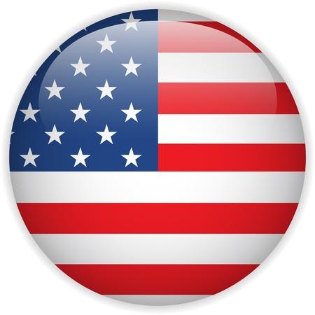 bandiera stati uniti: Vettore - Stati Uniti Bandiera del pulsante lucido