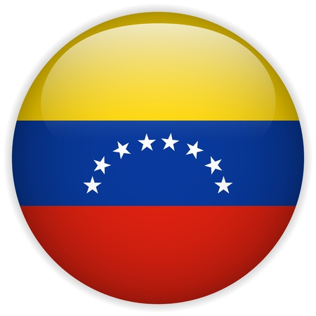 venezuelan: Vector - Bot�n de la bandera de Venezuela Glossy