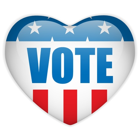 suffrage: Vector - United States Election Vote Heart Button.