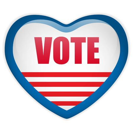 Vector - United States Election Vote Heart Button. Stock Vector - 15064558